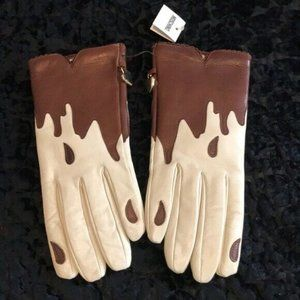 Moschino Chocolate Dripping Leather Gloves NWT